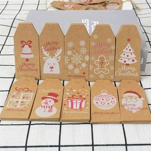 100pcs Merry Kraft Paper Gift Label DIY Hang Tags With Rope Christmas Gifts Decor Xmas New Year Natal Supplies