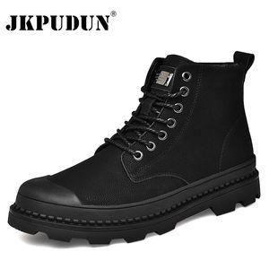 Черная теплая натуральная кожаная лодыжка зимняя рабочая обувь военные меховые ботинки для мужчин ботас Jkpudun