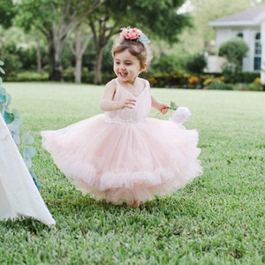 Luxurious Sparkly Lace Flowers Flower Girl Dresses Pearls Little Girl Wedding Dresses Vintage Pageant Dresses Gowns