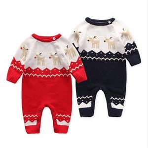 3M-24M Newborn Baby Romper for Girls Boys Clothing Christmas 2021 New Children's Kids Hooded Knitted Cartoon Deer Jumpsuit