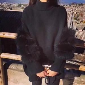 Fluffy Women Sweater Oversized Turtle Neck Fur Sleeve Black White Autumn Winter Knited Pullover femme pull back zipper DW699