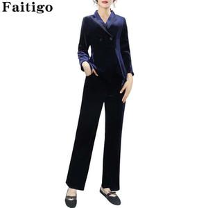 Women Suits Winter Casual Fashion Plus Size Office Wear Business Suits Ladies Blazer Set Elegant Pleuche Two Piece Pant Suit