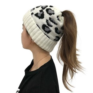 Women Autumn Winter Knitted Hat Beanie Leopard Printted Keep Warm Hat Soft Ladies Adjustable Beanies
