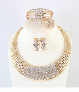 Fashion African Jewelry 18K Gold Plated Crystal Statement Necklace Bangle Earring Ring Set Party Women Wedding Bridesmaid jewelry sets