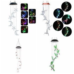 Cambiare colore oggetti Led Solar Wind Chimes Luna E Le Stelle Humming Bird Wind Chimes pendente della farfalla di Bell Yard Garden Home decorativi