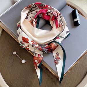 French elegant floral original Spring and Autumn new thin narrow strip small silk scarf hair belt dual streamer shirt scarf