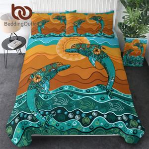 BeddingOutlet Jumping Dolphin Bedding Set Turquoise Animal Duvet Cover Paisley Ethnic Flower Quilt Cover Sunrise Bed Set 3pcs