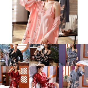 ZfO Satin Women Floral Peony Lovers Silk Flower Nightgown Elegant Bathrobe Girl Ice Silk Cartoon Cat Lingerie Robe Wedding Party Wwxjn