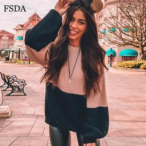 FSDA Patchwork O Neck Women Sweater Long Flare Sleeve Loose Knitted Oversized Winter Korean Pullovers Casual