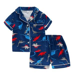 SAILEROAD Summer Dinosaur Pajamas For Boys Girls Cotton Short Sleeve Pyjamas Children Unicorn Pijama Infantil Kids Home Wear Set LJ200815