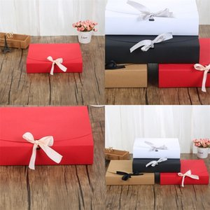 Fashion Paper Gift Box Solid Color Packaging Candy Case Jewelry Makeup Container Bow Ribbon High Quality 2 5mz F2