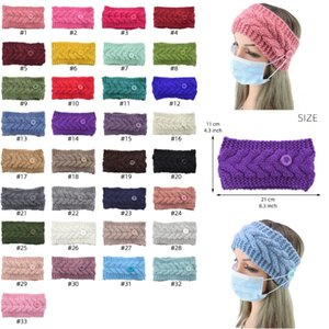 Face Mask Headband with Button Ear Protective Women Gym Sports Yoga Hairband Hairlace Headress Winter Warm Knit Hair Accessories BWB2439