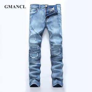 GMANCL Men Motorcycle Jeans Fashion Streetwear Pleated stitching Slim Distressed High Quality Mens Hip hop Ripped Biker Jeans