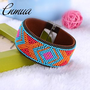 Retro National Style Bead Bangle Brazilian Multicolor Geometry Bracelets & Bangles Wide Magnetic Buckle Bohemian Women Bracelets