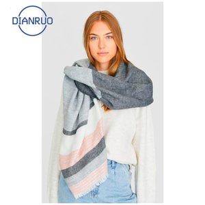 Linling Moda Sonbahar Kış Kadın Akrilik Eşarp Kadın Eşarplar Geniş Çizgili Uzun Şal Wrap Battaniye Sıcak Tippet R336