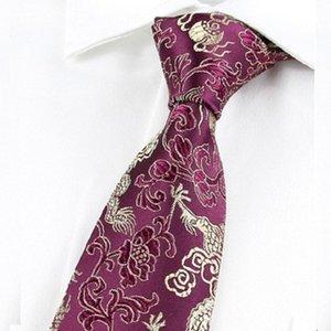 Chinese Dragon Tie Real Silk Retro Floral Necktie 9cm Wide Wedding Neckwear Mascot Men Ties Gift Animal Business Customization