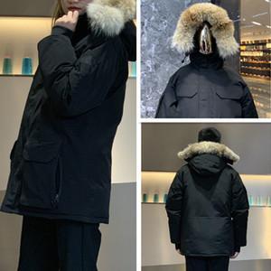 Modelos de Explosão Novos Jaquetas de Inverno Real Lobo Pele Big Bolsos Bolsos Revestido Down Jacket Duck Down Moda Com Capuz De Parka Quente