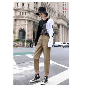 Грузовые штаны Женщины New Летняя одежда Straight Комбинезоны Повседневная Гарем резинке Осень Triangle пряжка 200930