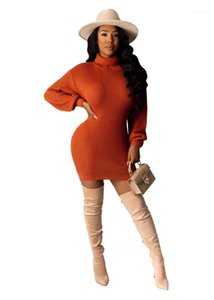 Dress Sweater Dress Lantern Slee Slim Fit Dresses Ladies Solid Color Vestiti Donne Turtle Neck Neck