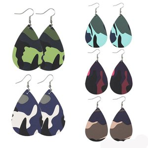 Fashion Camouflage Painted PU Leather Teardrop Dangle Earrings for Women Fashion Desiger Military Soft Faux Leather Water Drop Earrings
