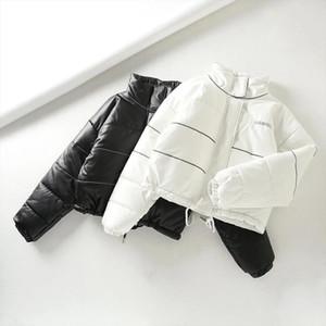 Black White Striped reflective 3M Parkas Women Winter Autumn thick warm Female Jacket Coat Outwear PU faux leather Women Parkas
