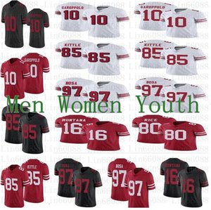 Hombres 10 Jimmy Garoppolo Jersey Mujeres Jóvenes 85 George Kittle 97 Nick Bosa 80 Jerry Rice 16 Montana Jersey