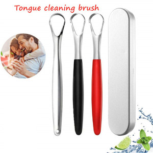 2021 New Stainless steel tongue scraper, tongue coating cleaning brush, three color tongue scraping plate, personal and household