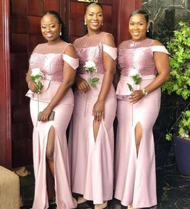 African Black Girls Sexy Plus Size Mermaid Bridesmaid Dresses Sheer Neck Beaded Maid of Honor Gowns High Side Split Wedding Guest Dress