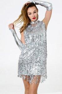 Dresses Famale Stage Wear Women Sequin Tassel Dress Sexy Nightclub Sleeveless Jazz Latin Casual
