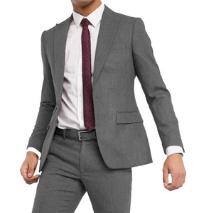 Costume Grey Tweed Wool Men's Business Suits 2 Pcs Slim Fit Herringbone Tuxedes Jacket For Party Wedding Prom(Blazer+Pants)