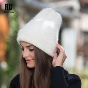 [Rancyword] Women Winter Hats Beanies Knitting Wool Fur Hat Female Real Fur Skullies Caps Gorros Solid Color RC1222-2