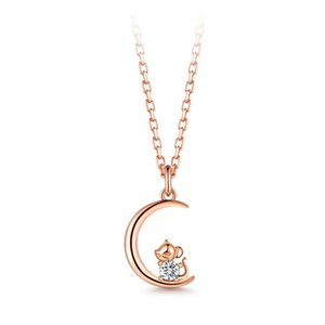 Zircon Pendant Necklace For Women Girl Child Birthday Gift Moon Cute Mouse Rose Gold Gem Jewelry
