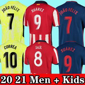 Maglia da calcio Atletico Madrid 20 21 JOÃO FÉLIX SUAREZ M. LLORENTE KOKE CORREA DIEGO COSTA t-shirt maglia da calcio uomo + divise kit per bambini