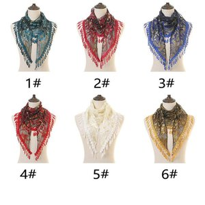 New Arrival Triangle Lace Veil Scarf Embroidered Tassel Pendant Scarves Shawl Spanish Lace Mantilla Veil Head Cover