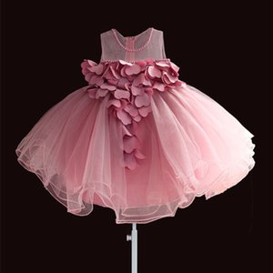 New Lace Baby Girls Dress Petal Flower Chiffon Festa Princesa Vestido 1 Anos Crianças Meninas Vestidos De Aniversário Vestido 3M-4T Q1223