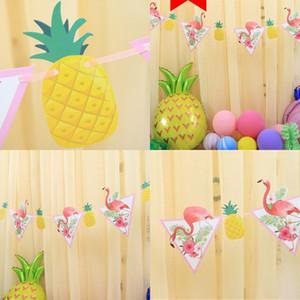 Chaîne de drapeaux Atmosphère Arrangement Partie Décorer Bannière Carton blanc Ananas Flamingo Pennant Factory Vente directe 2 88SH P1
