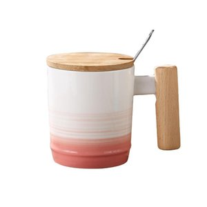 Japanese Style Wooden Handle Mug Mug With Lid And Spoon Office Afternoon Tea Ceramic Mug With Gradient Coffee Cup bbyDFx hotstore2010