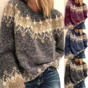 Maglioni delle donne New Autunno Inverno Stile Casual Style Allentato Mohair Groarse Knit Jacquard Donne Maglione con 4 colori