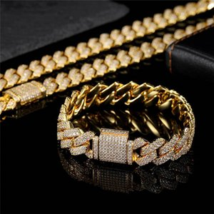 13mm 16-24inch Gold Plated Iced Out CZ Miami Cuban Chain Hip Hop Jewelry Necklace Bracelets for Men Women Gift