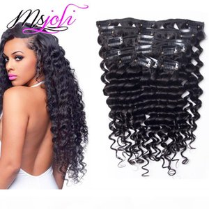 Brazilian Virgin Human Hair Clip In Extension deep wave Full Head Natural Color beauty hair 7Pcs set 12-28 Inches by Msjoli