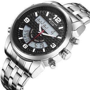 Светодиодные цифровые двойные дневные часы AZAN 6.11 новая новая нержавеющая сталь новая крутая мода кварц аравийских часов для мужчин lj201123