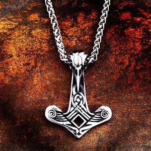 Beier 316L STAINLESS STEEL Nordic Vikings Vegvisir and Ravenhead Skull Amulet Pendant Necklace Original Jewelry Talisman LP317