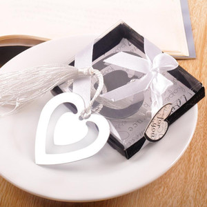 2020 Double heart metal bookmarks with tassels -Baby Shower Christening birthday Wedding Favor Back To school Gift