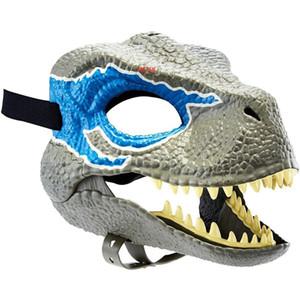 Dinosaur Maschera Mondo con apertura delle ganasce Tyrannosaurus Rex Halloween Cosplay Kids Party di Carnevale Full oggetti di scena della testa del casco