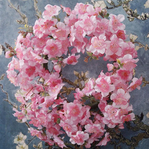 Fengrise 2m Pink Sakura Flower Cherry Rattan Wedding Arch Flower For Wedding Backdrop Artificial Flower Wedding Hanging Garland sqcHHj