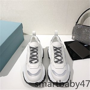 2021 high quality Fashion new men women thick soled lace up classic white colorful stitching lightweight breathable casual shoes