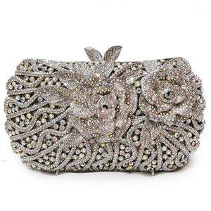 AB Gemstone Crystal вечерние сцепления роскоши роскошные высококлассные серебряные клатчи сумки свадебные свадебные сумки для плеч дамы мини-телефон Case1