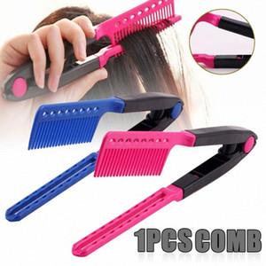Mayitr Glattes Haar-Kamm-Werkzeug V Typ Haarglätter Styling-Kamm DIY glatt Werkzeug Pinsel für Curling 7CGJ #