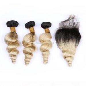 اثنين من لهجة 1B 613 الشعر الحياكة مع الدانتيل إغلاق أومبير شقراء اللون 1B 613 اثنين من لهجة اختتام مع فضفاض موجة الشعر 3Bundles