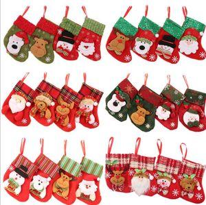 10*17cm Mini Christmas Socks Stockings Christmas Gifts Storage Stockings Kids Bedside Candy Bags Home Tree Xmas Home Party Decor Sock